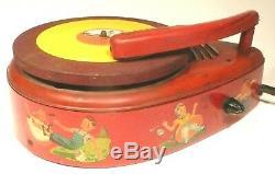 Vintage General Electric 78 Tours Enfants Phonograph Restauré Ampère Et Cartouche