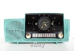 Vintage General Electric C-416c Turquoise Travail Horloge Tube Radio 1958 Rétro