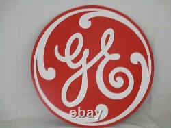 Vintage General Electric Disc 24 Inch Sign Metal With Orig Paper Nos Gas Oil