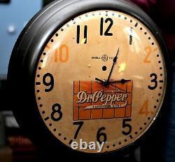 Vintage General Electric Dr. Pepper Mur Publicitaire Horloge