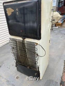 Vintage General Electric Ge Réfrigérateur Blanc / Vert / Laiton / 50 Ans De Travail Chrome