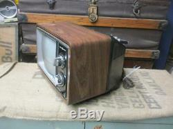Vintage General Electric Solid State Television Retro Tv Cadran Bouton Portable 10