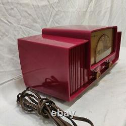Vintage Général Électrique 429 Rouge Plastique MID Century Moderne Cadran Beam Tube Radio