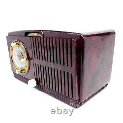 Vintage Général Électrique 518 Tube Réveil Radio Red Gold Swirl Radio Works