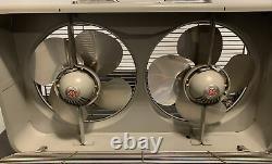 Vintage Général Électrique Ge Automatique Gris Double Fenêtre Boîte Twin Fan Belle