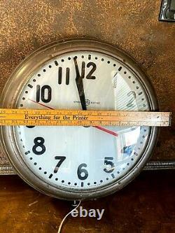 Vintage Grand General Electric Wall Clock École Éclairage Industriel W Visage En Verre