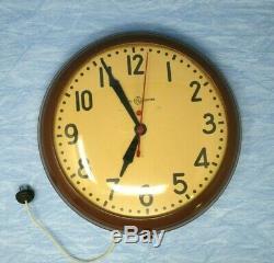 Vintage Horloge Murale Grande École Industrielle Métal General Electric Red Dot 14,75