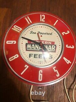 Vintage Manamar Modern Feeds General Electric Clock Farm Gas Oil Sign