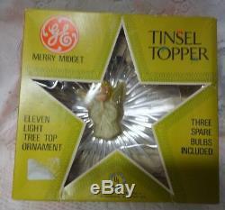 Vintage Merry Midget Ange Tinsel Chrismas Arbre Topper Japon General Electric Co