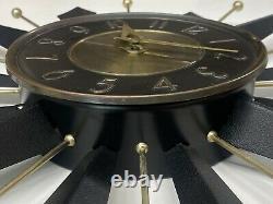 Vintage Mid-century Moderne Noir / Or Starburst Horloge Murale Électrique Générale