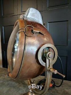 Vintage Novalux Cuivre Avec Laiton Projecteur Projecteur Yoke Par General Electric