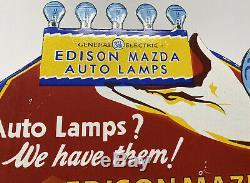 Vintage Plate General Electric Auto Lampes Porcelain Sign Mazda Edison Gas Pump