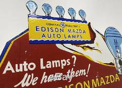 Vintage Plate General Electric Auto Lampes Porcelain Sign Mazda Edison Gas Pump