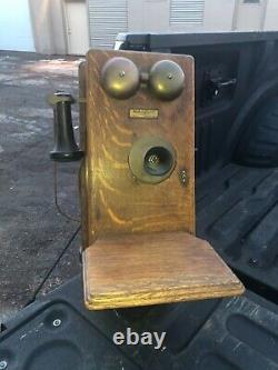 Vintage Quartersawn Chêne Western Electric Antique Wall Phone, Générateur De Manivelle 20