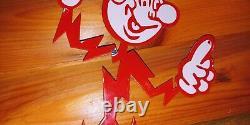 Vintage Reddy Kilowatt Homme Grande Porcelaine Signe Electricité General Electric