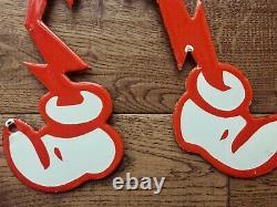 Vintage Reddy Kilowatt Man Grand Signe De Porcelaine Électricité Générale Électrique