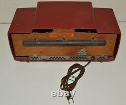 Vintage Rouge MID Century General Electric Model 429 Tube Dial Beam Radio Rare