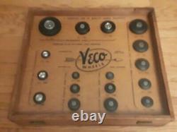 Vintage Veco Wheel Display Case Model Rc Avion Aérien Car Rubber Tires Scale Kit2 3