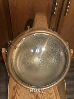 Vtg Antique Ge Novalux Projecteur Copper Floodlight Spotlight Light Lamp