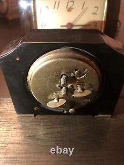 Vtg Art Déco Seth Thomas&general Électrique Brun Horloge Bakélite