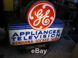 Vtg. General Electric Ge Appliances Télévision Extérieure Double Face Éclairé Connexion