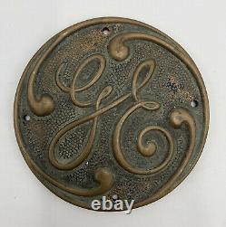Vtg General Electric Ge Brass Turbine Motor Railroad Sign Logo 3706b Plaque Rare