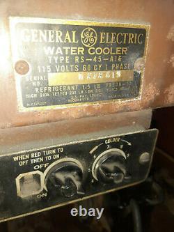Vtg General Electric Porcelaine Haut Autoportant Refroidisseur D'eau De Travail Compresseur