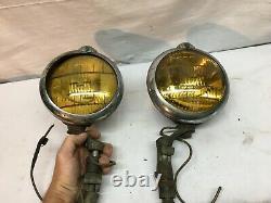 Vtg Paire Amber Fog Light Chrome Housing /mount Rat Rod Tractor Light Mazda