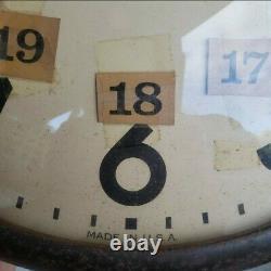 Vtg Seth Thomas Horloge Murale De L'école Modèle E877-000 General Time Corp Motor